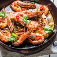Fried prawns served on hot pan